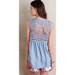 Anthropologie HOLDING HORSES | crochet cut out Top